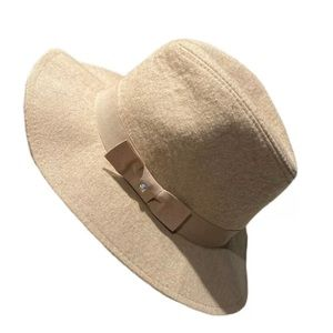 bebe Accessories - bebe Tan Linen Look Wide Brim Fedora Hat